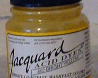 Bright Yellow 602 Jacquard Acid Dye for Wool, Silk, Feathers, Nylon, any protein (animal) fiber. Add vinegar and heat to powder.