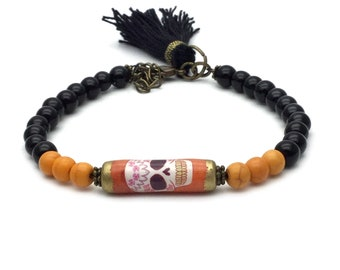 Sugar skull bead bracelet, sugar skull jewellery, day of the dead, tassel jewelry, orange skull bracelet, womens skull jewelry, beaded jewel