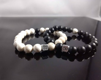 Anniversary date onyx and Howlite couples bracelets