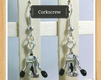 CORKSCREW EARRINGS wine earrings alcohol earrings whimsical earrings fun earrings cute earrings novelty earrings kitsch earrings