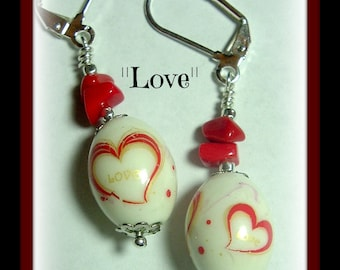 Love-coral with hearts-lever back dangle earrings