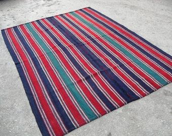 free shipping VINTAGE TURKİSH yuncu kilim Anatolian - Rug-handwoven kilim rug - decorative kilim SİZE - 62 '' X 85  '' (155 cm X 213 cm)