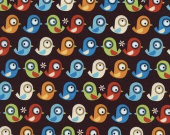 1/2 yard - Birds Organic in Brown, Organic cotton, Timeless treasures Fabrics