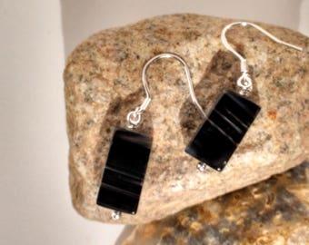Elegant Black Sardonyx Cuboid Sterling Silver Earrings