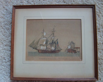 Maritime Print Painting, Vintage US Navy, Ships at Sea, French Framed Art