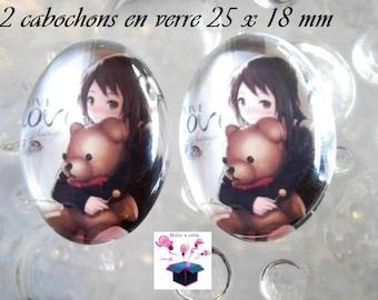 2 cabochons glass 25mm x 18mm girl theme