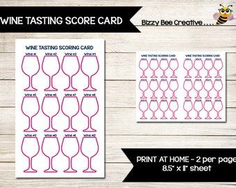 WINE TASTING | Score Card | Scoring Card | Direct Sales | Home Party | Tally Sheet | Tracker | Thirty-One | Girls Night Out