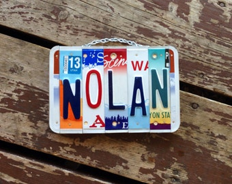 Boys. Recycled. license plate sign. License plate art. Room. Decor. Car. Dad. Babyboy. Gift idea. Garage.