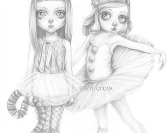 Erin and ella, the little dancers , a signed A5 Giclée art print .