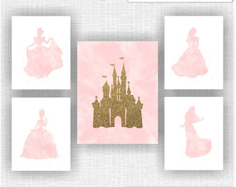 CANVAS or PRINTS Disney Princess Light pink Watercolor and Castle gold glitter silhouette Wall art decor prints Set of 5 11x14-1 and 8x10-4 & Princess wall art | Etsy