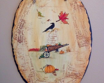 Hand Drawn & Painted Fall Slate