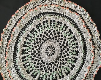 """24"""" Vintage Crocheted Doily Hand Crocheted Round White with peach and green accents Ruffles"""
