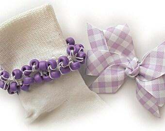 Kathy's Beaded Socks - Light Purple Gingham socks and Hair Bow, girls socks, purple socks, school socks, lavender socks, gingham socks