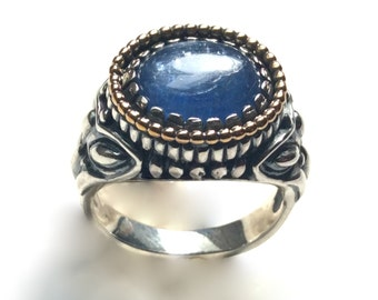 Blue kynite ring, two tones ring, kynite jewelry, boho ring, silver gold ring, bohemian ring, filigree engagement ring - The Storm - R2244