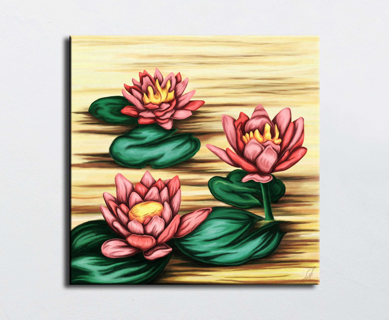 Painting Of Lotus Flower Digital Painting On Canvas Water