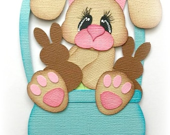 premade paper piecing bunny in  basket scrapbooking embellishment by My tear bears by Kira