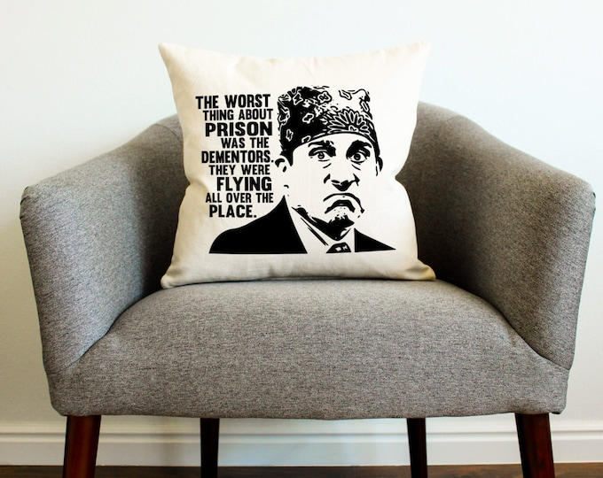 "The Office TV Show Michael Scott ""Prison Mike"" Pillow - Home Decor, Gift for Her, Gift for Him, Grad Gift, Gift for Mom, Gift for Dad"