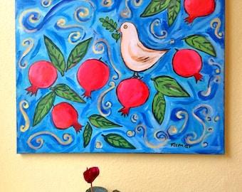 Granatapfel-Kunst, Friedenstaube, Granatapfelbaum, Original Acryl-Gemälde, Malerei auf Leinwand, 16 X 20 Zoll, Shalom Kunstwerk, Granatapfel-Dekor