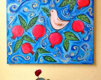 Pomegranate Art, Peace Dove, Pomegranate Tree, Original Acrylic Painting, Painting on Canvas, 16X20 inch, Shalom Artwork, Pomegranate Decor