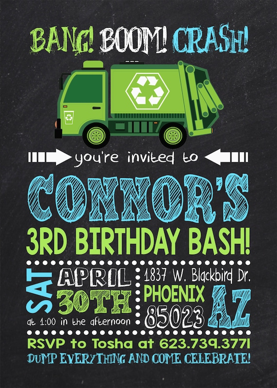Garbage truck birthday party garbage truck party garbage garbage truck birthday party garbage truck party garbage truck invitation dump truck birthday invitation dump truck invitation filmwisefo Image collections