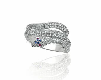 snake silver ring, white micropave zirconia, 925 sterling silver
