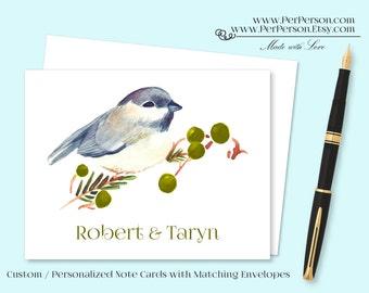 Free Ship!  Set of 12 Personalized / Custom Notecards, Boxed, Blank Inside, Bird, Berries, Initials, Monogram, Name