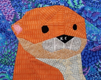 Otter, A Foundation Paper Pieced Quilt Pattern, Sewing Pattern, Woodland Quilt, Paper Piecing, Quilt Block, Otterly Adorable