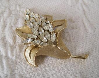 Mitte Jahrhundert Trifari Brosche Pin Strass Blume Krone Mark Bridal Handschuh Hut Pin Schärpe Stift