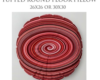 Red Floor Pillow-STUFFED Pillow-Abstract Floor Pillow-Modern Decor-Round Floor Cushion-Spiral Floor Pillow-Made To Order-Tufted Floor Pillow