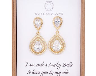 Deluxe Cubic Zirconia Halo style Teardrop dangle Earrings, Gold Bridal Cubic Zirconia earrings, Classic Hollywood