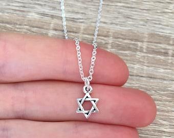 Little Star of David Pendant, Sterling Silver Chain, Jewish Necklace, Israel Jewelry, Bar Mitzvah Gift, Magen Star Charm, Judaica, Hebrew