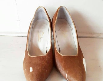 Pony fur shoes vintage brown and white