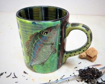 Fish Mug Beautiful Green