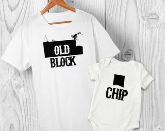 Chip Off the Old Block - Father and Son or Daughter matching T-shirt Baby Grow, Bodysuit, Cotton, FREE Delivery, Father's Day, Baby Shower