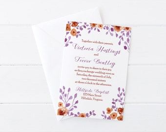 "Watercolor Wedding Invitation - Rustic Invitation Card Floral Wedding Invite ""Prairie Flowers"" Watercolor Invitation Purple Wedding DEPOSIT"