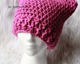 Sale- Womens or teen pink cat hat, kitty cat ear hat, kitty ear hat, cat beanie, soft acrylic yarn. Custom colors available.