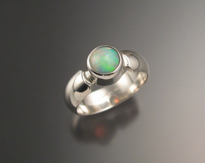 Opal Ring with wide low dome smooth band handmade in your size