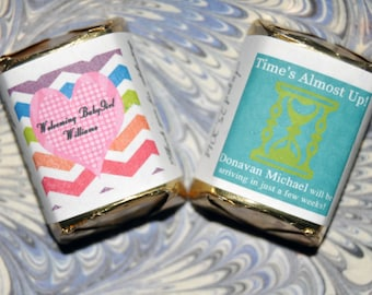 30 custom hourglass or heart Labels ONLY -  Wedding - Celebration - Baby Shower - Adoption Party