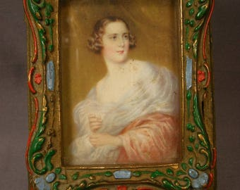 Wooden Vanity Dresser Box with Portrait Print - Early 1900's