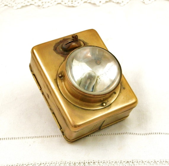 Antique Brass Flashlight with Domed Glass Lens from France, Old French Torch Made of Yellow Metal , Vintage Retro Upcycled Lighting Lantern