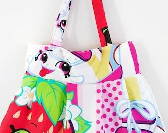 Shopkins, D'Lish donut, Apple blossom, strawberry kiss, Sneaky wedge, logo super hero character handbag tote messenger bag