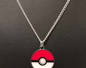 Silver Plated Nintendo Pokemon Pokeball Necklace