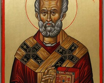 Saint St Nicholas Hilandar Monastery Hand-Painted (Written) Orthodox Byzantine Icon on Wood (Premium Quality)