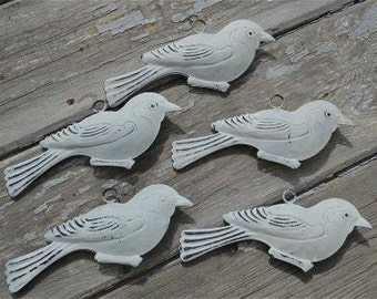 A lovely set of 5 vintage style patinated what tin hanging birds