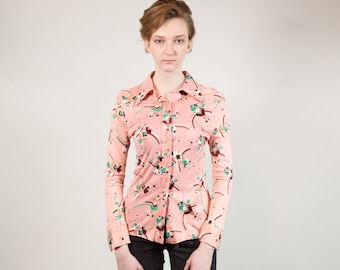 Vintage Pink Blouse - Women's / Ladies Long Sleeve Shirt with Pointed Collar and Geometric Pattern