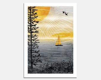 Summer Long Art Print / yellow / grey / sunshine / summer / sailing / boat / bird / breeze / wallart / interior decor / travel / holiday
