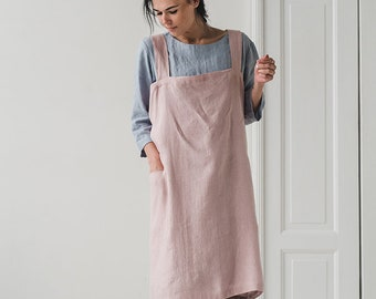 Linen Pinafore in Pale Dogwood / Washed Japanese Style Apron / Long Linen Apron / Soft Cross Back Apron / Linen Apron Dress / No Ties Apron