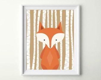 Woodland Fox, Woodland Fox Nursery, Fox Print, Fox Nursery, Fox Nursery Art, Fox Nursery Print, Fox Nursery, INSTANT DOWNLOAD