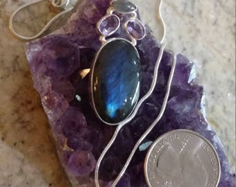 Labradorite and Amethyst Pendant Necklace