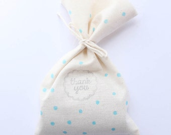 Blue polka dot Party Favour Bags - Blue Polka Dot x 10 baby shower, boy shower favours